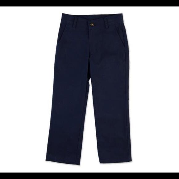 DOCKERS School Uniform Twill Pants Boys 16 HUSKY Flat Front Blue Khakis NWOT